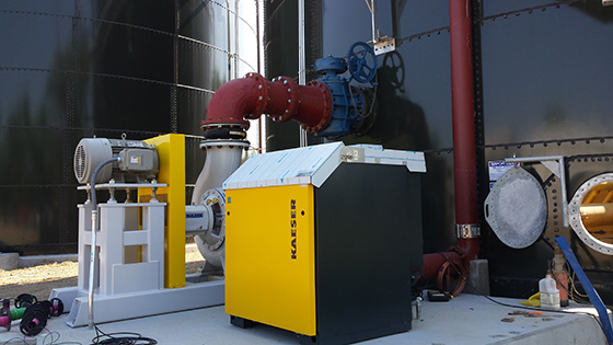 jet aeration pump and blower mounted outdoors on a common pad. pumps and blowers designed for outdoor applications.