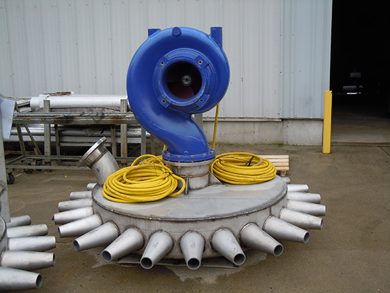 self contained stainless steel eddy mix jet aerator at pulp mill