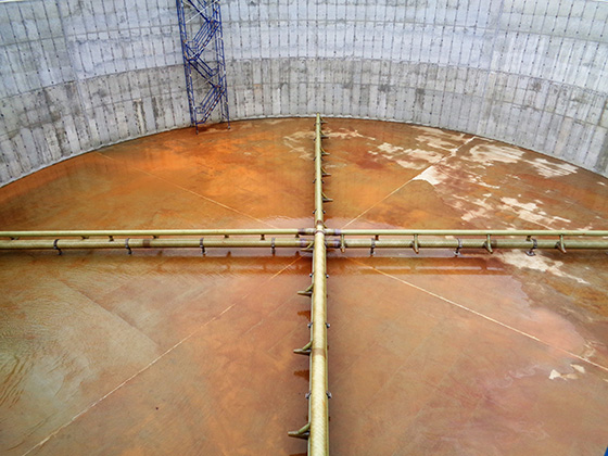 jet aerators in nitrification tank at poultry processing plant