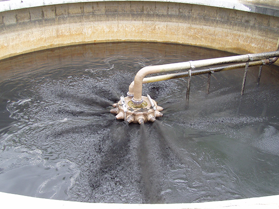 jet aerator at startup in digester sludge service