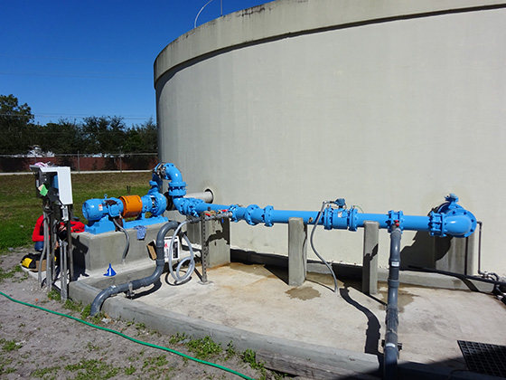 jet mixers for mixing chemicals at florida water treatment plant