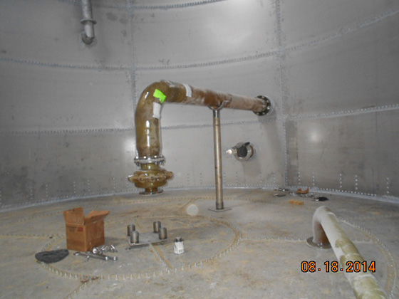 frp jet mixer being installed