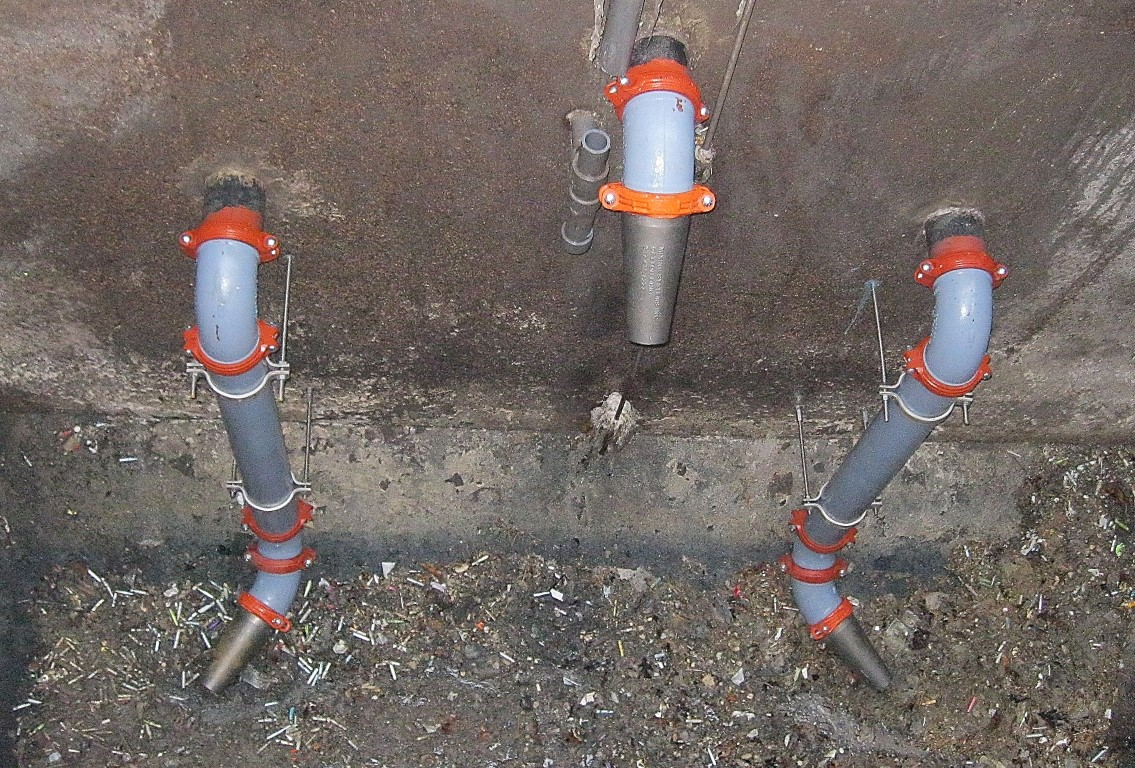 hydraulic sludge mixing nozzles installed using victaulic couplings