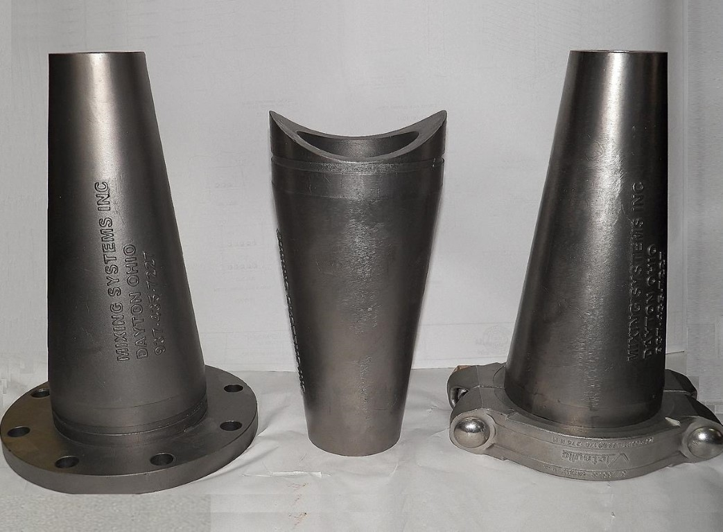 hydraulic sludge mixing nozzles with flanged, welded or victaulic coupling for attachment to liquid pipes