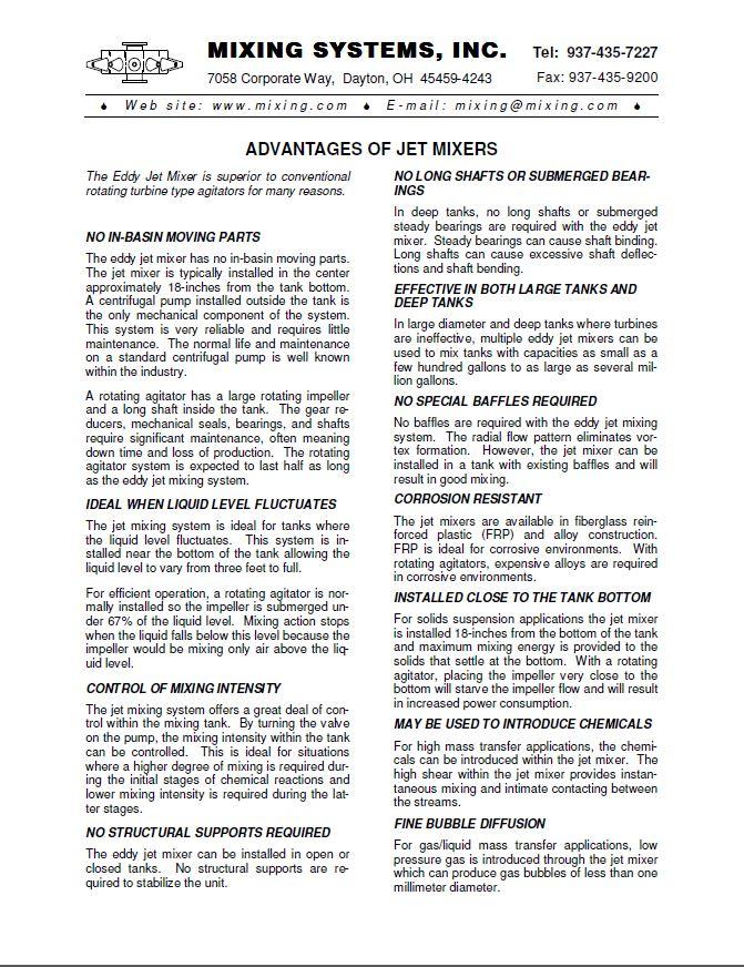 3. Advantages of Jet Mixers