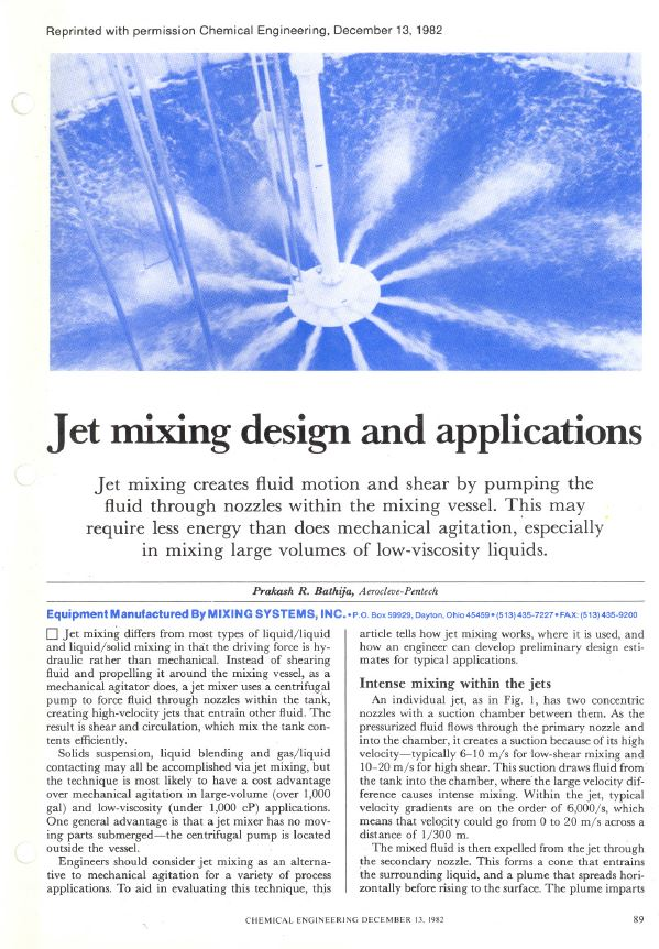 4. Jet Mixing Design and Applications - Chemical Engineering